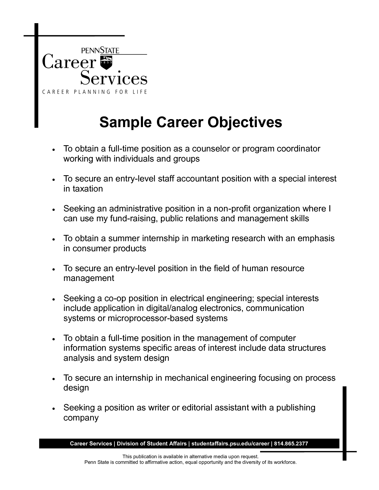 good career objective examples Incep.imagine ex.co