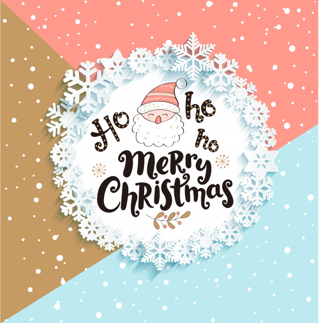 Christmas Greeting Card on geometric background. Vector | Premium