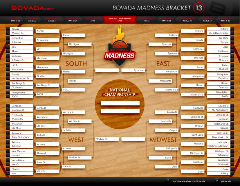 Download Updated 2013 College Basketball Tournament Printable