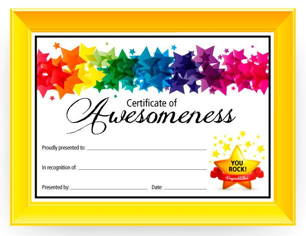 certificate template for kids certificate of awesomeness free