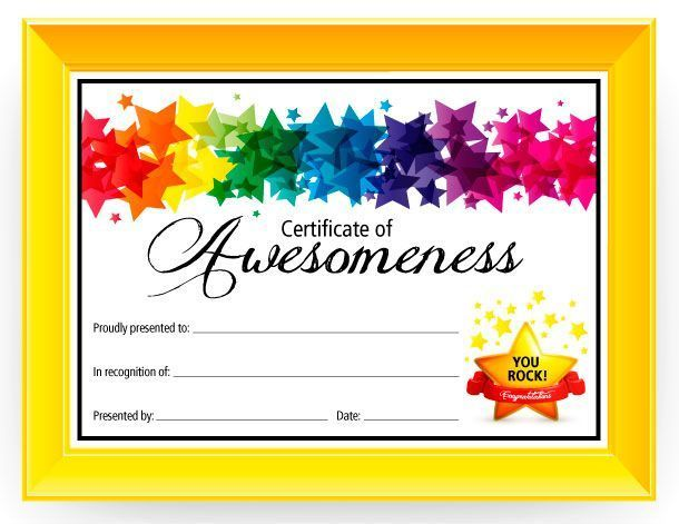 customizable certificate templates certificate of awesomeness free