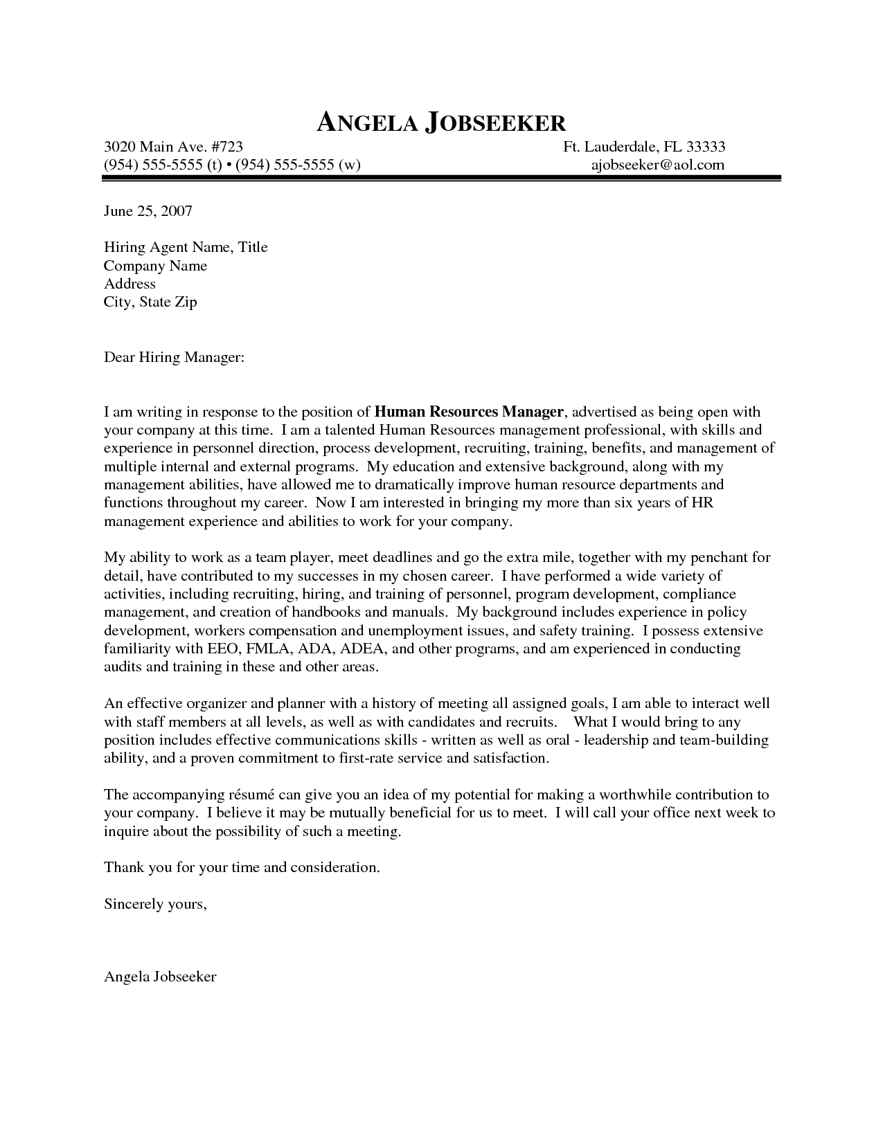 Outstanding Cover Letter Examples | HR Manager Cover Letter