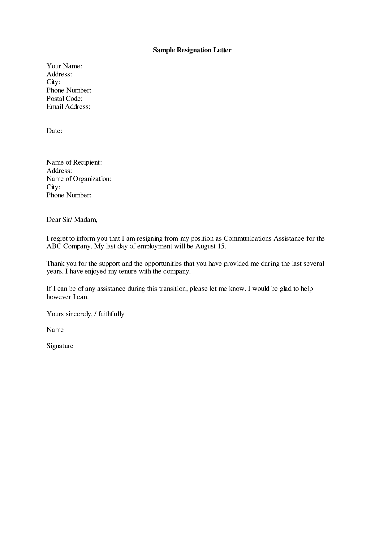 Letter Of Resignation Example | laperlita cozumel
