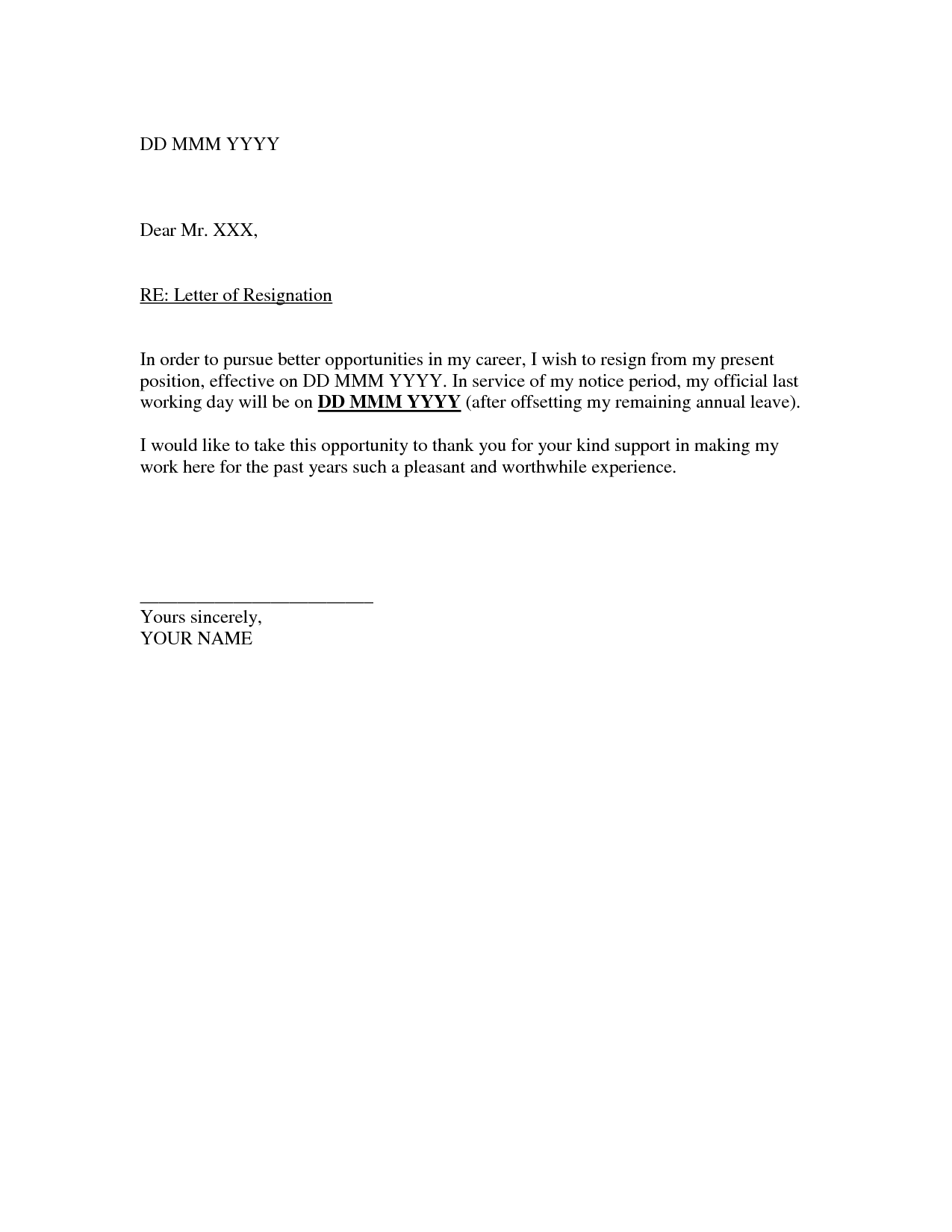 Simple Letter Of Resignation Sample Simple Resignation Letter