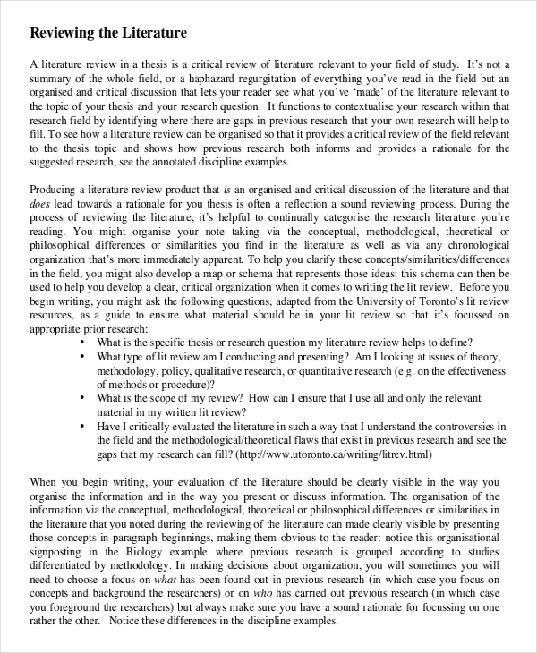 example of literature review Incep.imagine ex.co