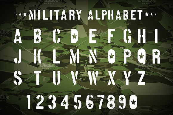 Military font. ~ Symbol Fonts ~ Creative Market