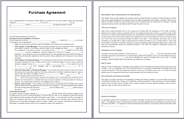 purchase agreement contract template purchase contract template