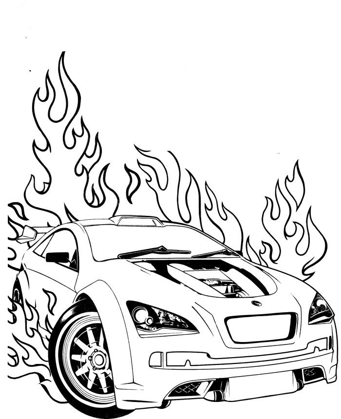 Best Flames Race Car Coloring Pages Free 3490 Printable