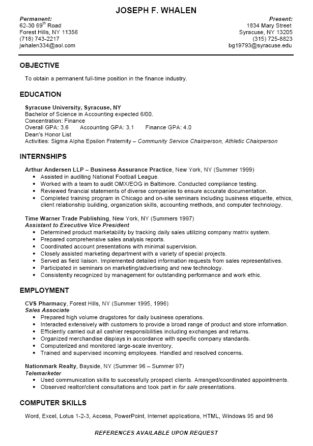 Resume Summary For College Students Summary For Resume