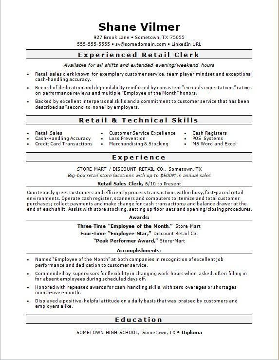 Retail Sales Clerk Resume Sample | Monster.com