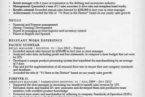 retail resume retail manager combination resume sample
