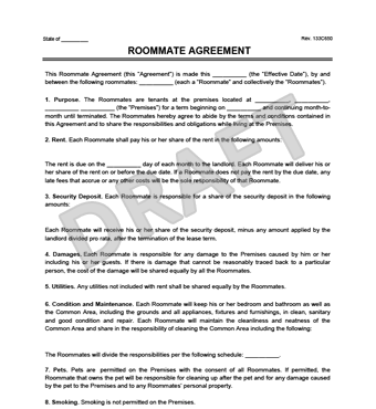 Roommate Agreement/Contract | Create & Download a Free Template