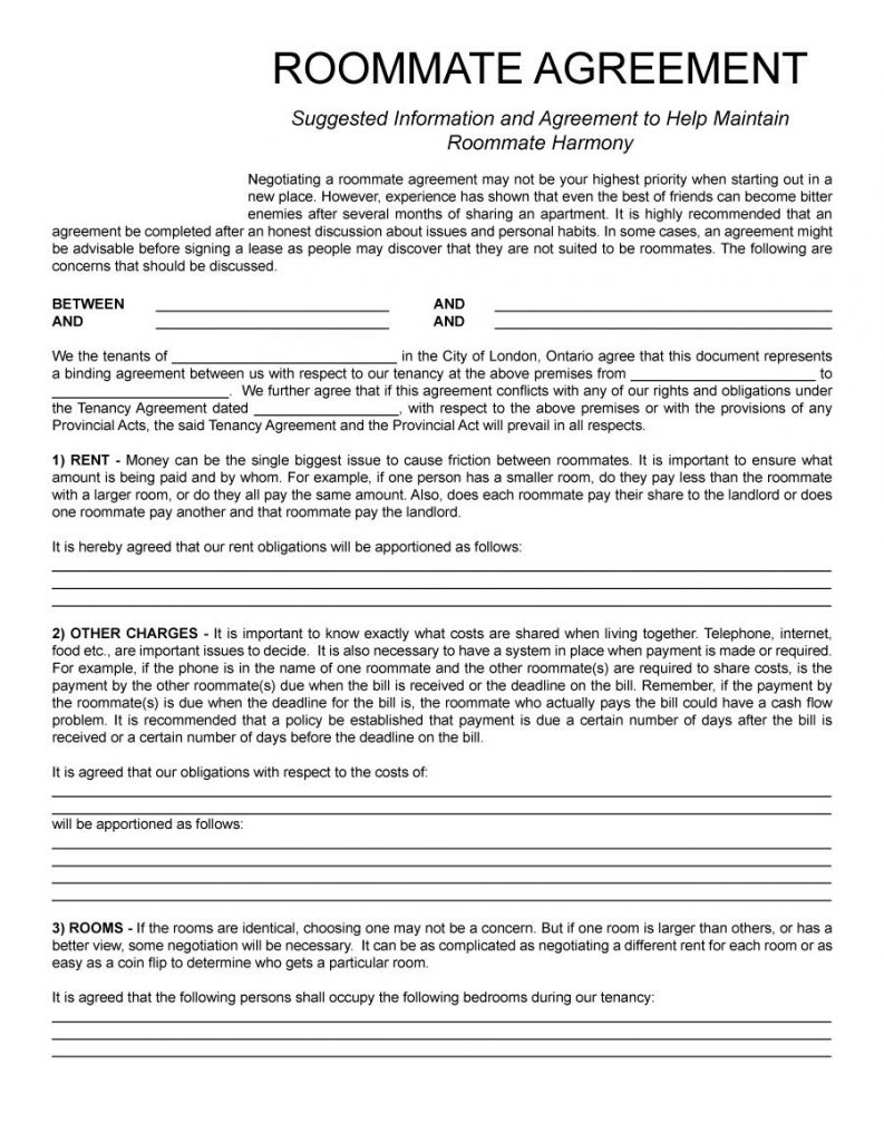roommate agreement Incep.imagine ex.co