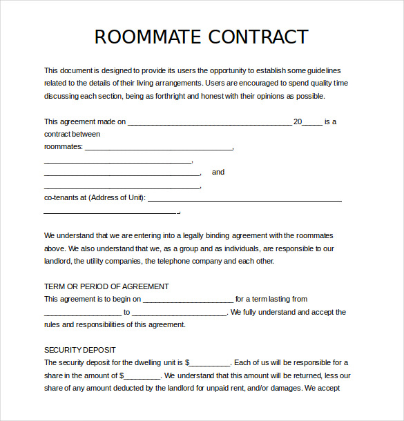 roommate agreement template roommate agreement template free