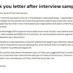 sample thank you letter after interview thank you letter after interview sample