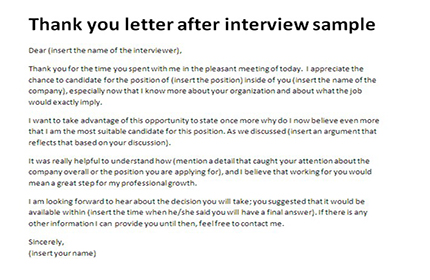 Thank you letter after interview sample | Appreciation letter