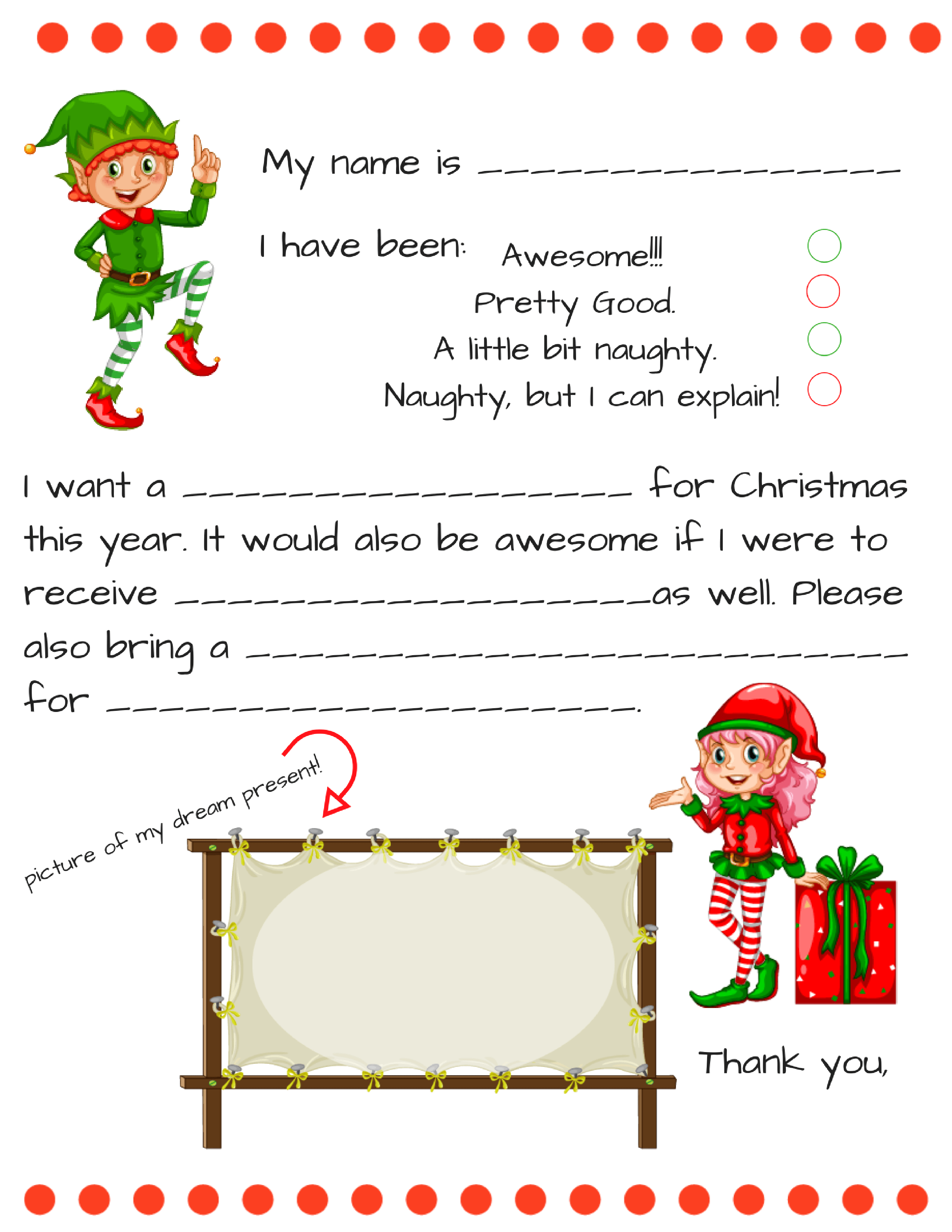 Dear Santa Fill In Letter Template
