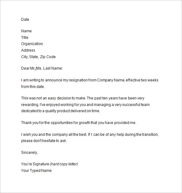 2 week notice template two weeks notice letter 8 free sample