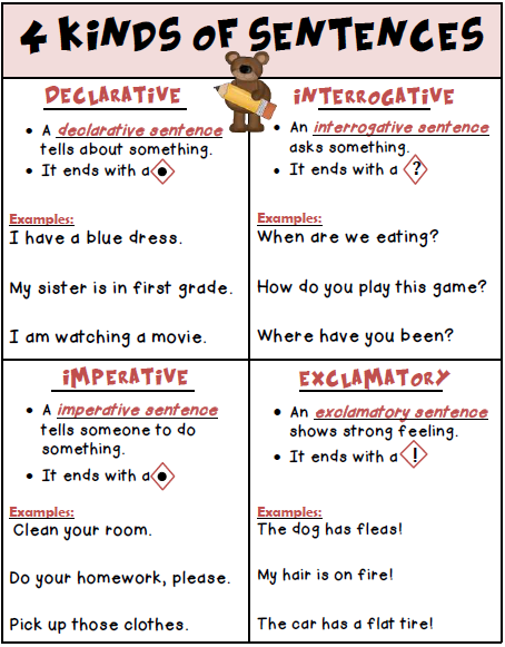 4 Kinds of Sentences Poster Freebie | TpT Language Arts Lessons