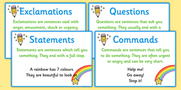 Types of Sentence Prompt Cards types of sentence, prompt