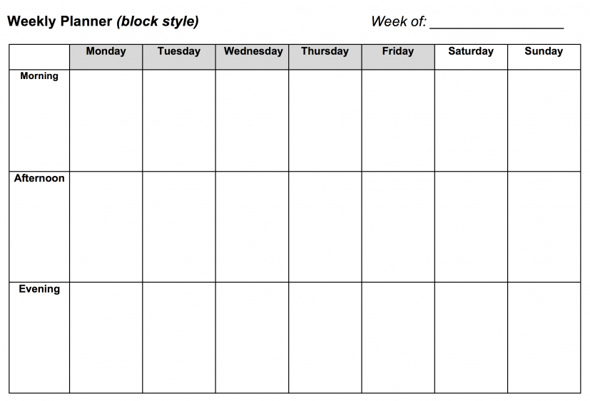 Weekly Planner: Block Style   Learning Center