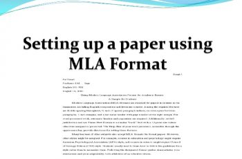 what is mla format setting up a paper using mla format