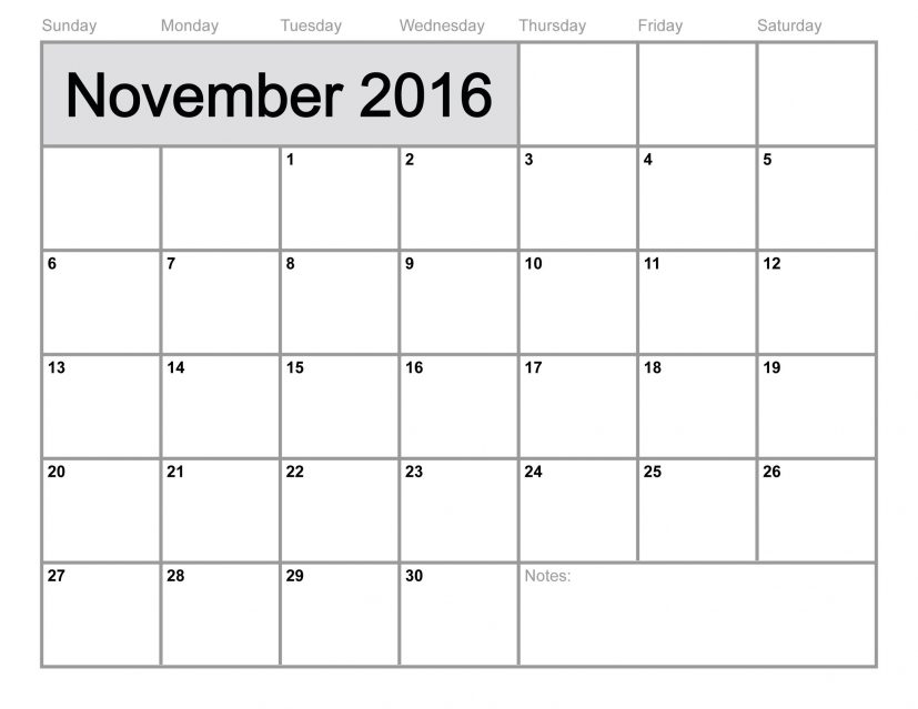 Calendar 2016 October And November Showy Printable | mightymic.org