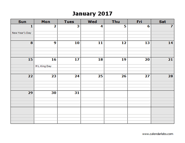 Free 2017 Monthly Calendar Powerpoint Template