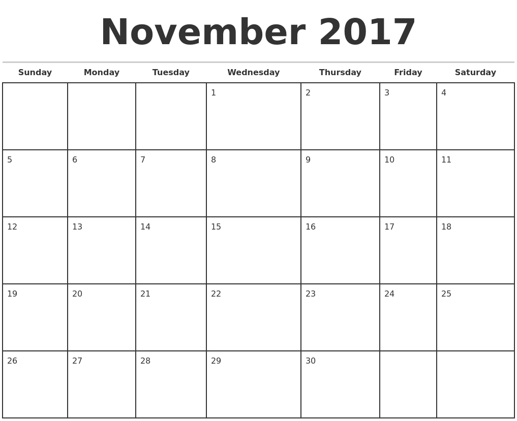 Free 2017 Monthly Calendar Templates Download Blank & Printable