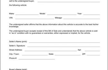 automotive bill of sale bill of sale form car