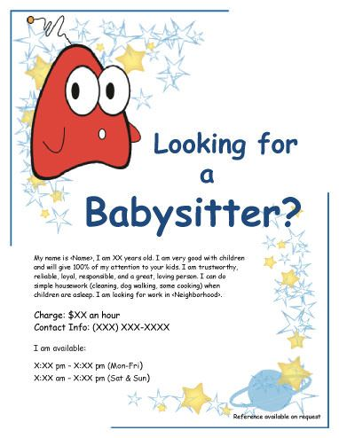 Funny creature babysitting flyer | Babysitting Flyer Template