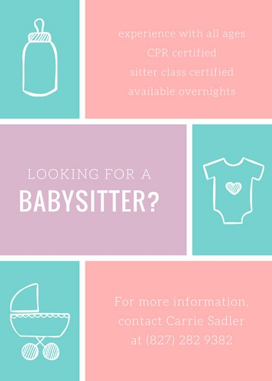 Customize 57+ Babysitting Flyer templates online Canva