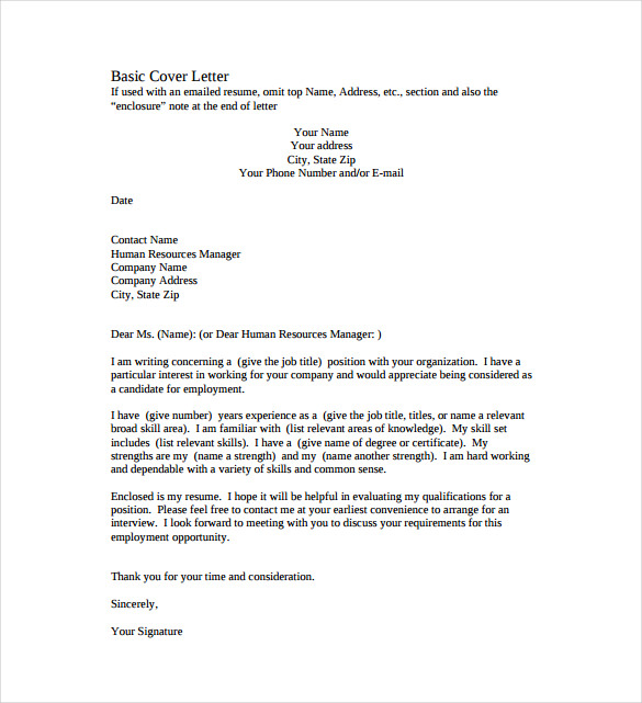 Basic Cover Lette Ideal Basic Resume Cover Letter Sample Resume