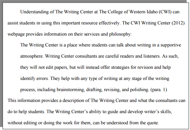 How do I format a block quote with APA formatting? | CWI