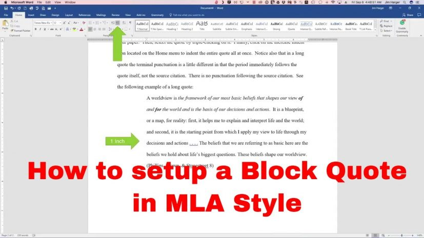 How to setup a Block Quote in MLA Style YouTube
