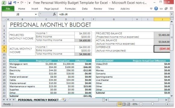Personal Budget Excel Template Personal Monthly Budget Template