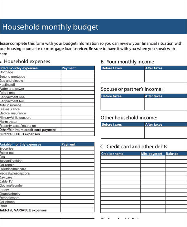 sample budget forms Kleo.beachfix.co