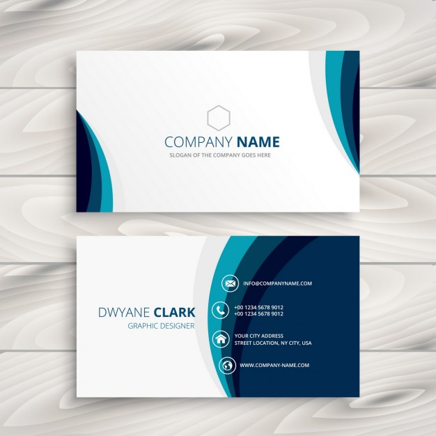 Blue wave business card design Vector | Free Download