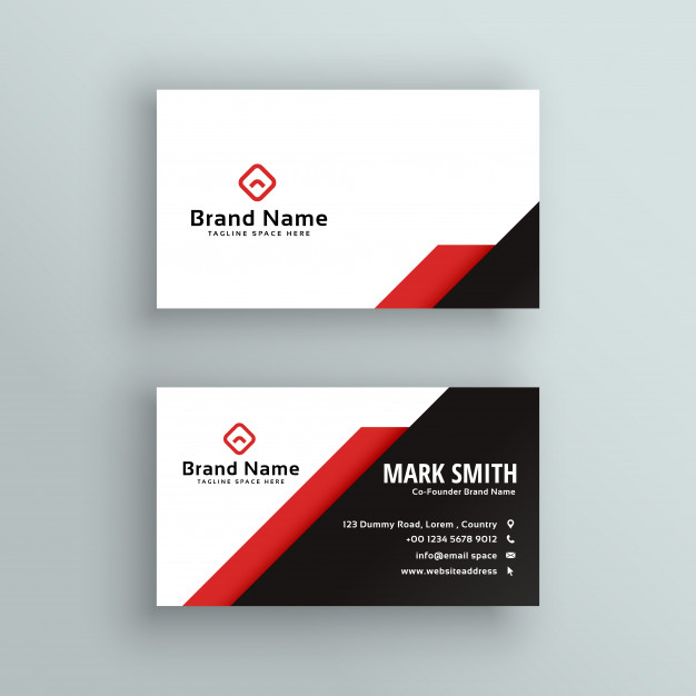 Professional red and black business card design Vector | Free Download