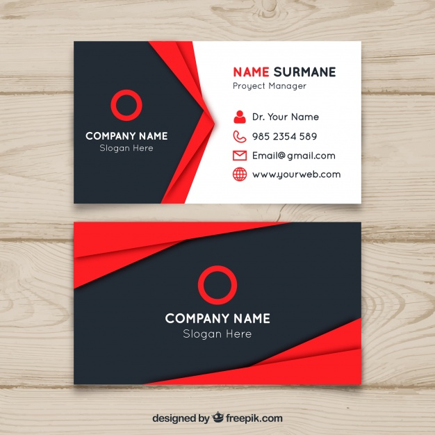 Red and black business card design Vector | Free Download