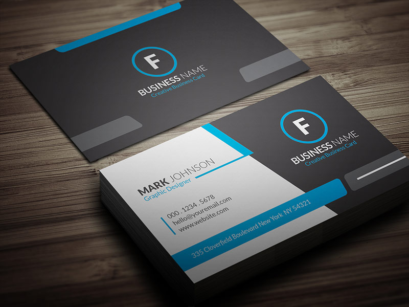 Cool Blue Corporate Business Card Template » Free Download » CP00018