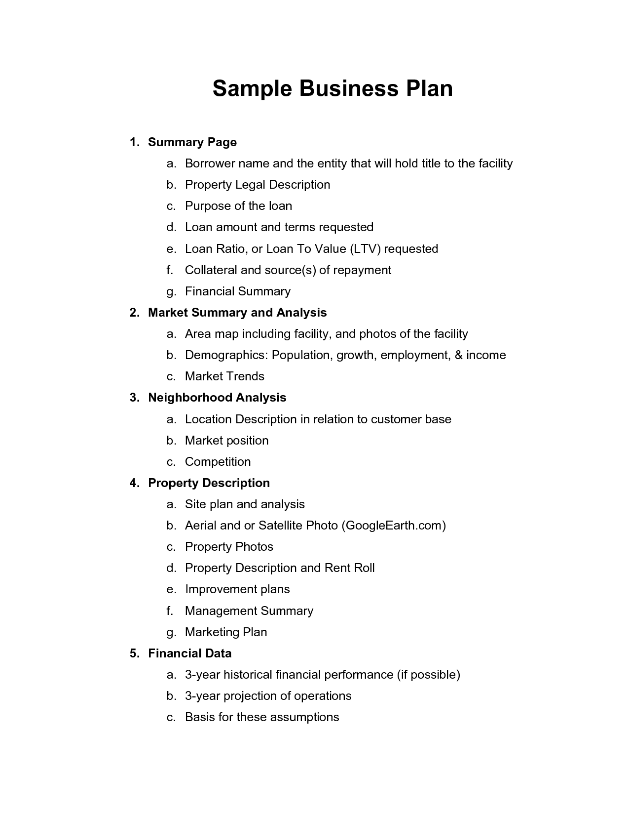 Printable Sample Business Plan Sample Form | Forms and Template