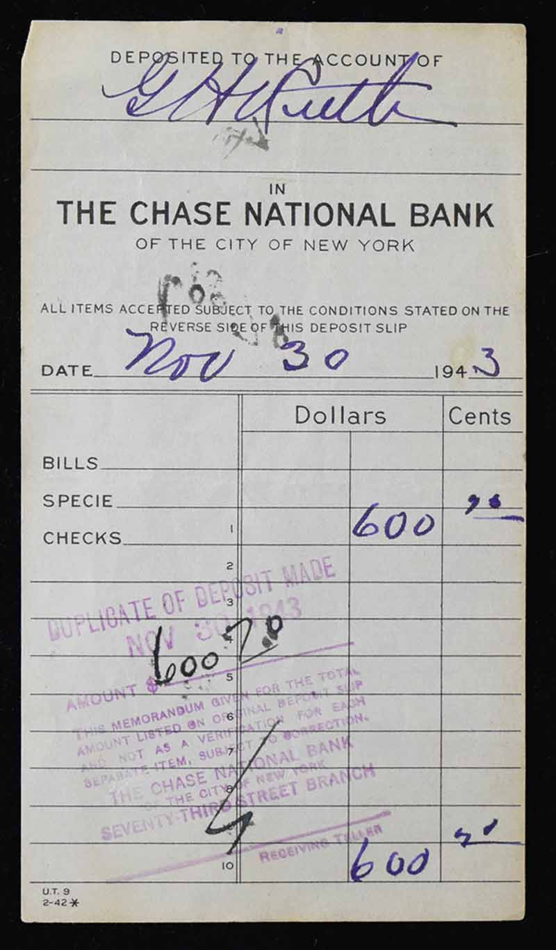Lot Detail Babe Ruth Signed 1943 Chase Bank Deposit Slip w