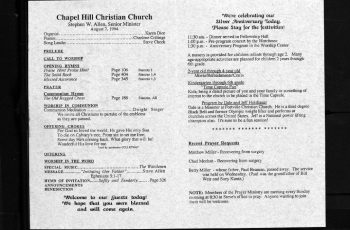 church bulletin indnd church records m
