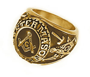 Free Mason Ring Freemasonry College Style GOLD Color Steel Mens