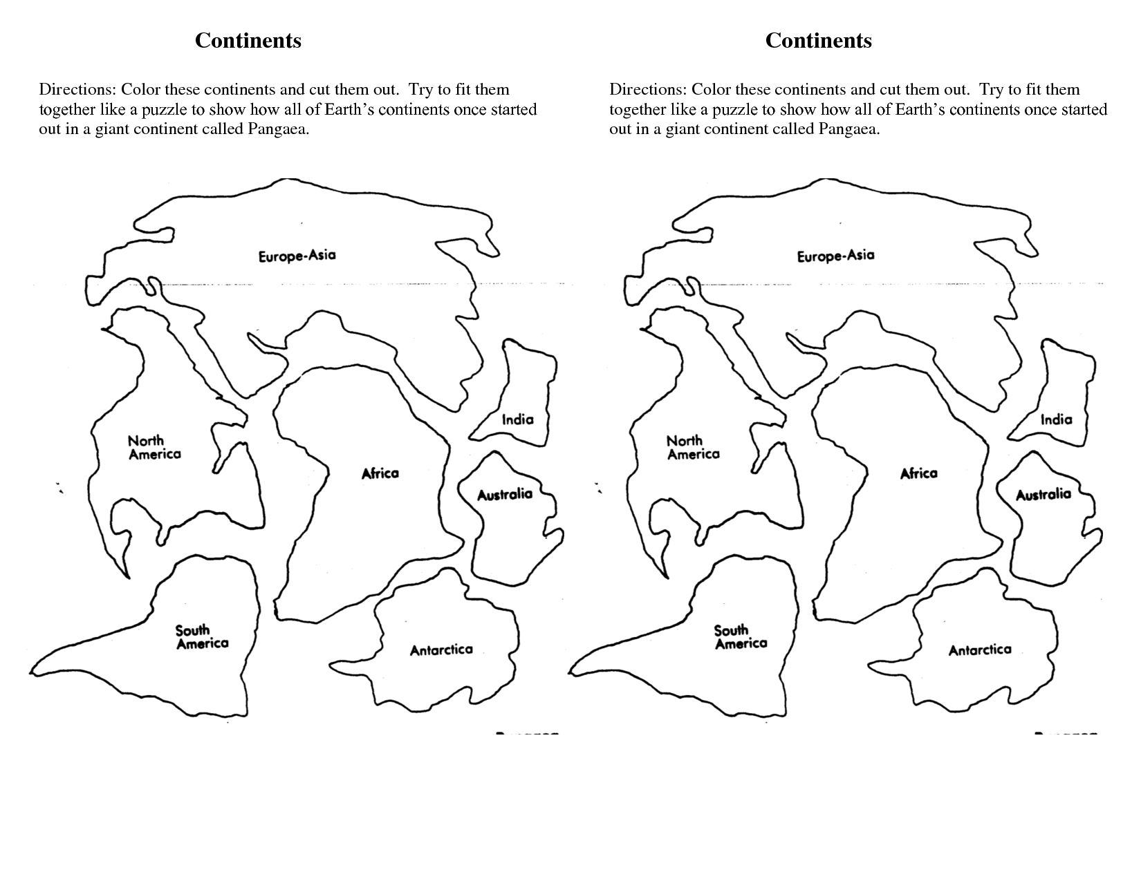 Continents Cut Outs Printables Sketch Coloring Page Continents Cut