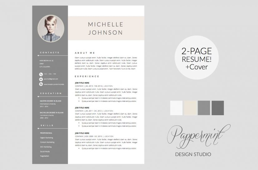 Creative resume template competent portray marvellous 7 cover