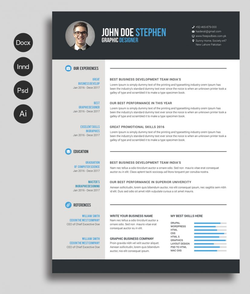 Free Ms.Word Resume and CV Template — Free Design Resources
