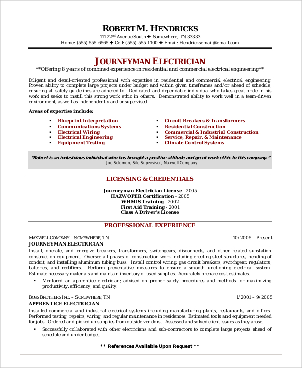Electrician Resume Template Ppyr Us Sample 27316 | ifest.info