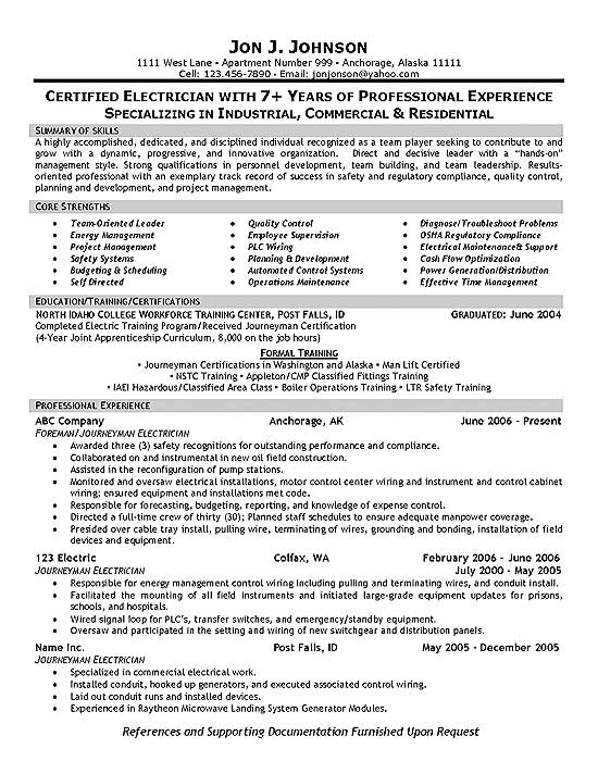 electrician resume template resume example free Commily.com